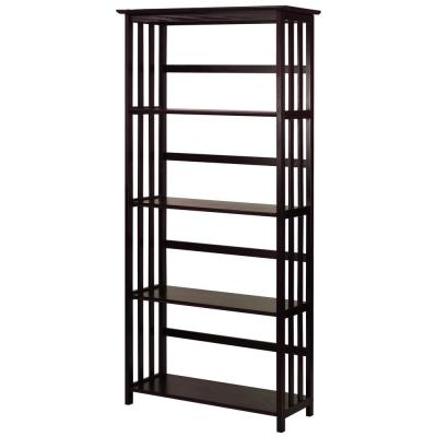 63 in. Espresso Wood 4-shelf Etagere Bookcase with Open Back