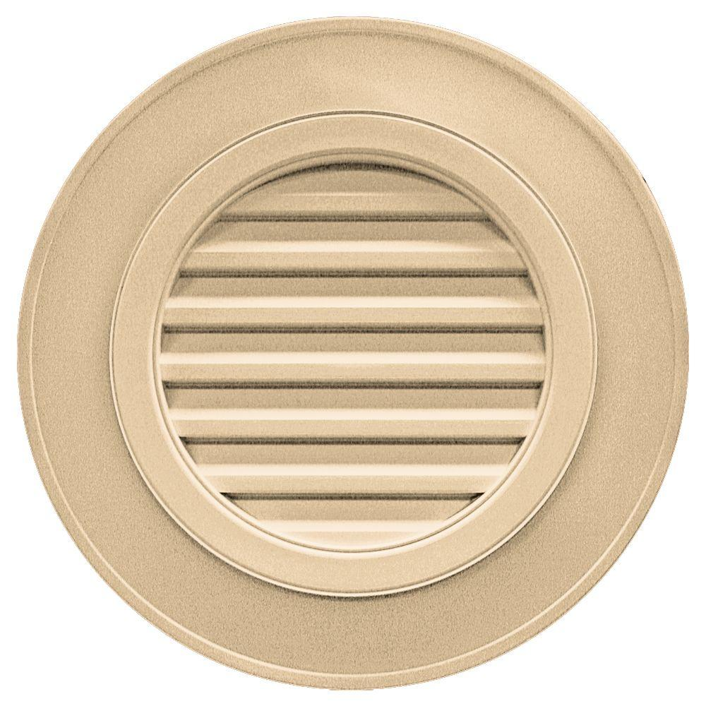 Builders Edge 28 in. Round Gable Vent in Sandstone Maple (without Keystones)