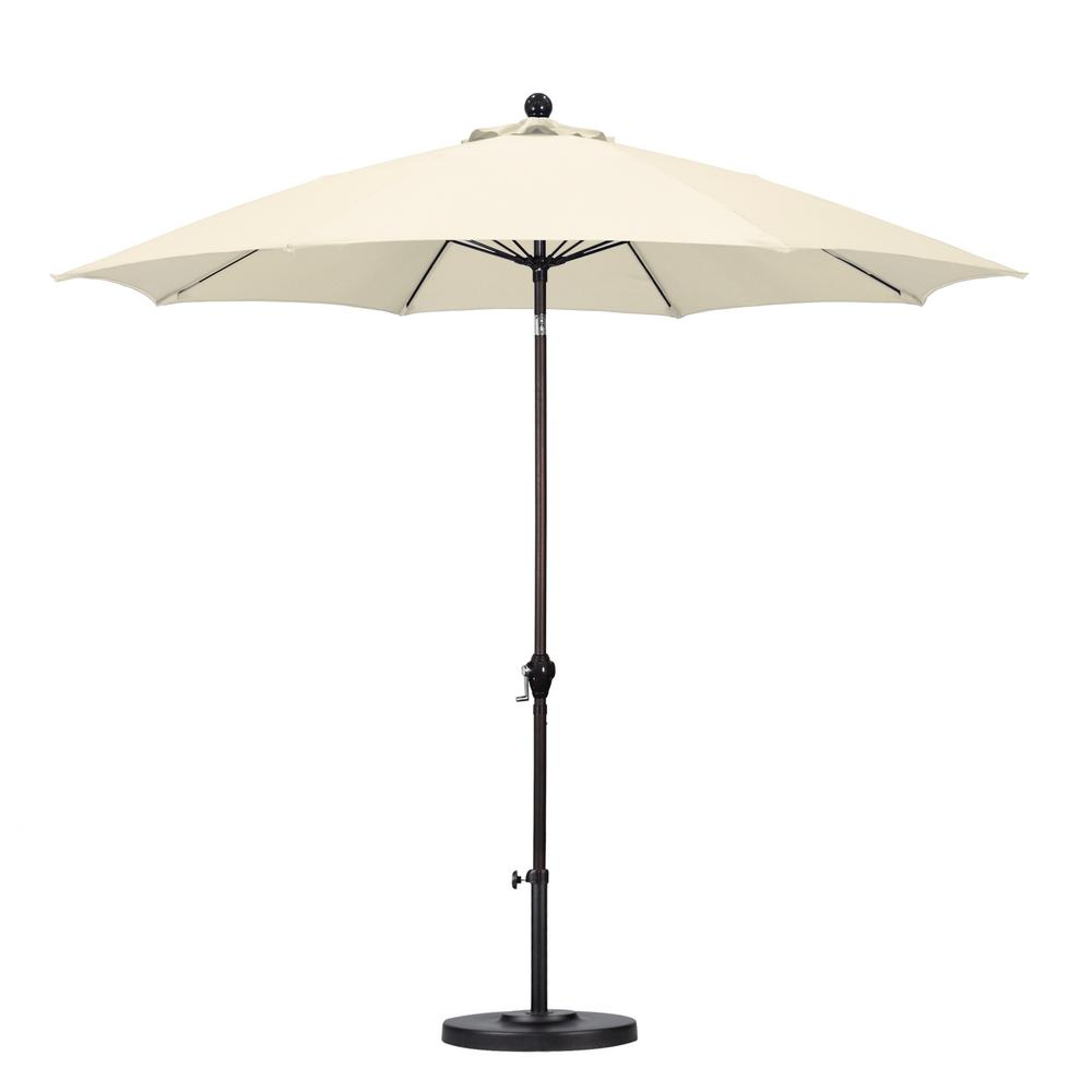Great California Umbrella 9 Ft. Fiberglass Push Tilt Patio Umbrella In Natural  Polyester