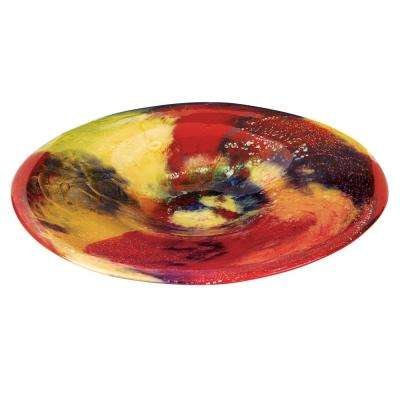 Firestorm 15 in. Mouth Blown Round Thick Walled Decorative Platter