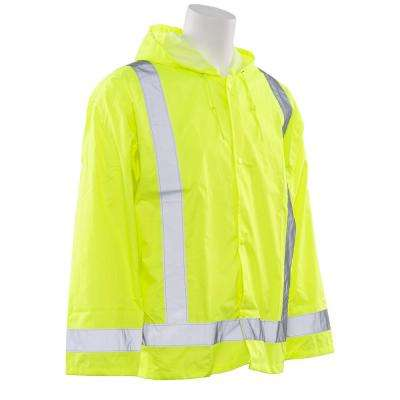 S373 Class 3 Rain Jacket, Lime 3x-Large and 4x-Large