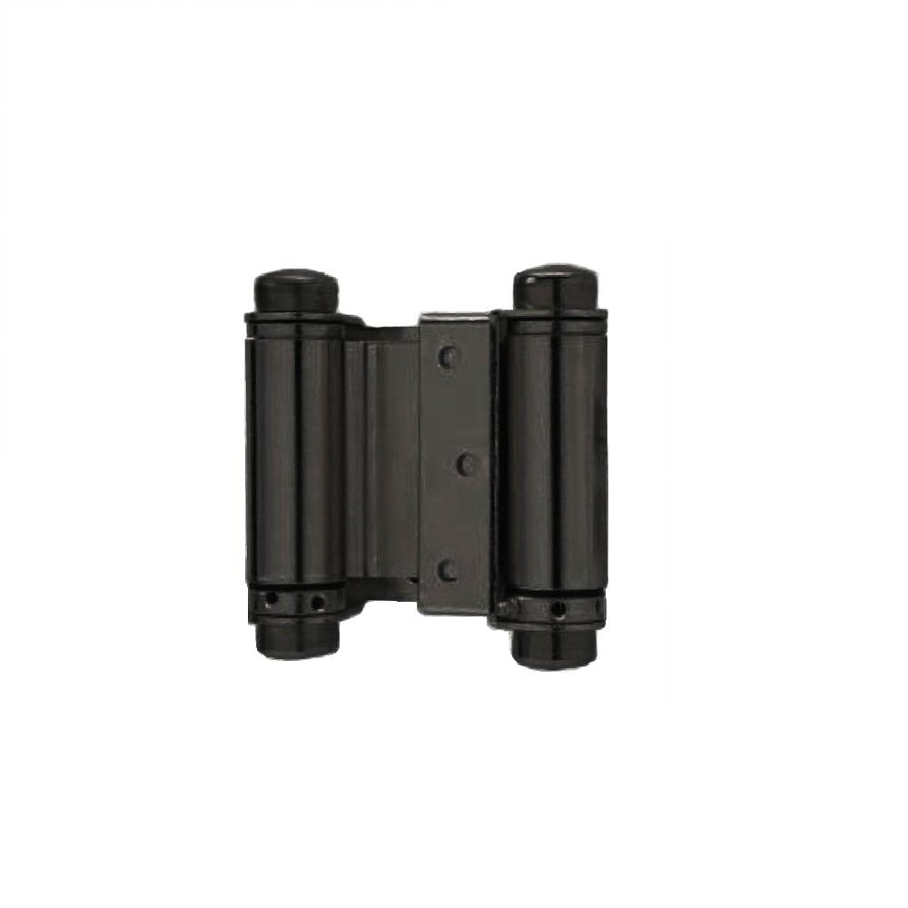 Taco 4 in. Double Acting Spring Hinge in Black (Set of 2) The Trans Atlantic 4 in. double acting spring hinge is made to strict specifications for exceptional quality. These hinges are recommended for use when automatic self closing of a door is required. Double acting spring hinges are also used for doors that need to open in both directions and return automatically to center such as cafe doors.