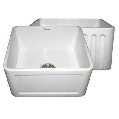 Reversible Concave Farmhaus Series Apron Front Fireclay 20 in. Single Bowl Kitchen Sink in White