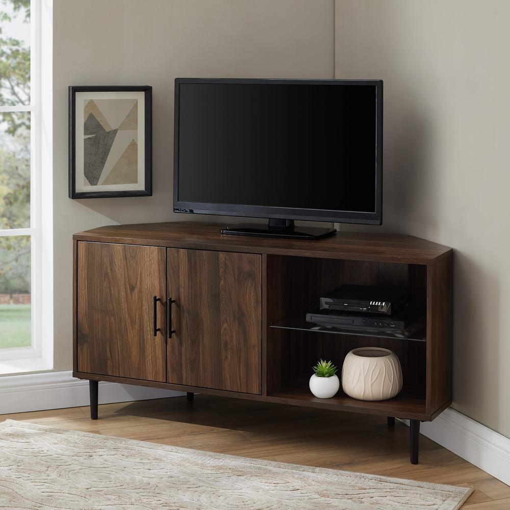 48 in. Dark Walnut 2-Door Glass Shelf Corner TV Console