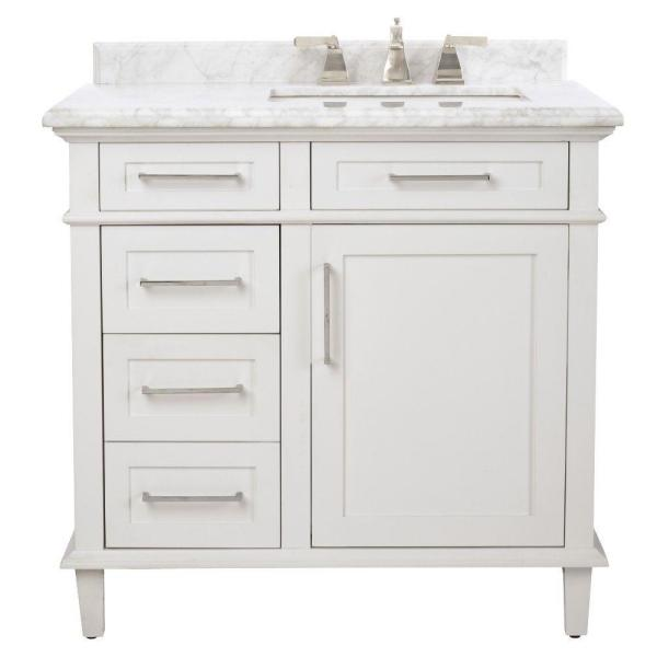 Home Decorators Collection Sonoma 36 In W X 22 In D Bath Vanity In White With Carrara Marble Top With White Sinks 8105100410 The Home Depot