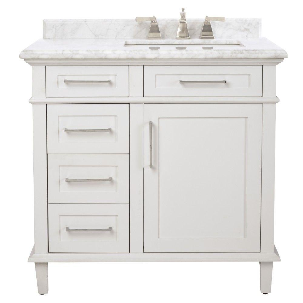 home decorators collection sonoma 36 in w x 22 in d bath vanity in white with carrara marble. Black Bedroom Furniture Sets. Home Design Ideas