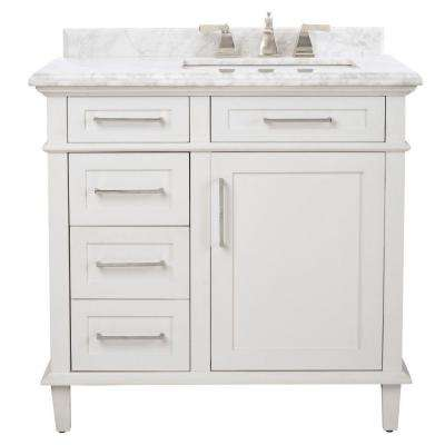 Sonoma 36 in. W x 22 in. D Bath Vanity in White with Carrara Marble Top with White Basins