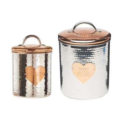 Rosie Assorted Size Metal Pet Treats Canister (2-Pack)