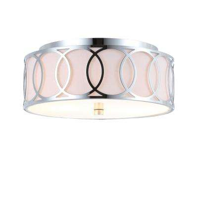 Aria 2-Light Chrome 12.25 in. Metal Flush Mount