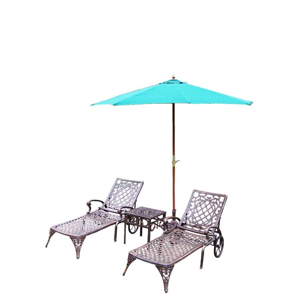 Oakland Living Mississippi Cast Aluminum 3-Piece Patio Chaise Lounge Set with Umbrella and Stand
