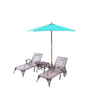 Oakland Living Mississippi Cast Aluminum 3-Piece Patio Chaise Lounge Set with Umbrella and Stand by Oakland Living