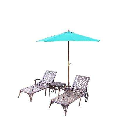 Mississippi Cast Aluminum 3-Piece Patio Chaise Lounge Set with Umbrella and Stand
