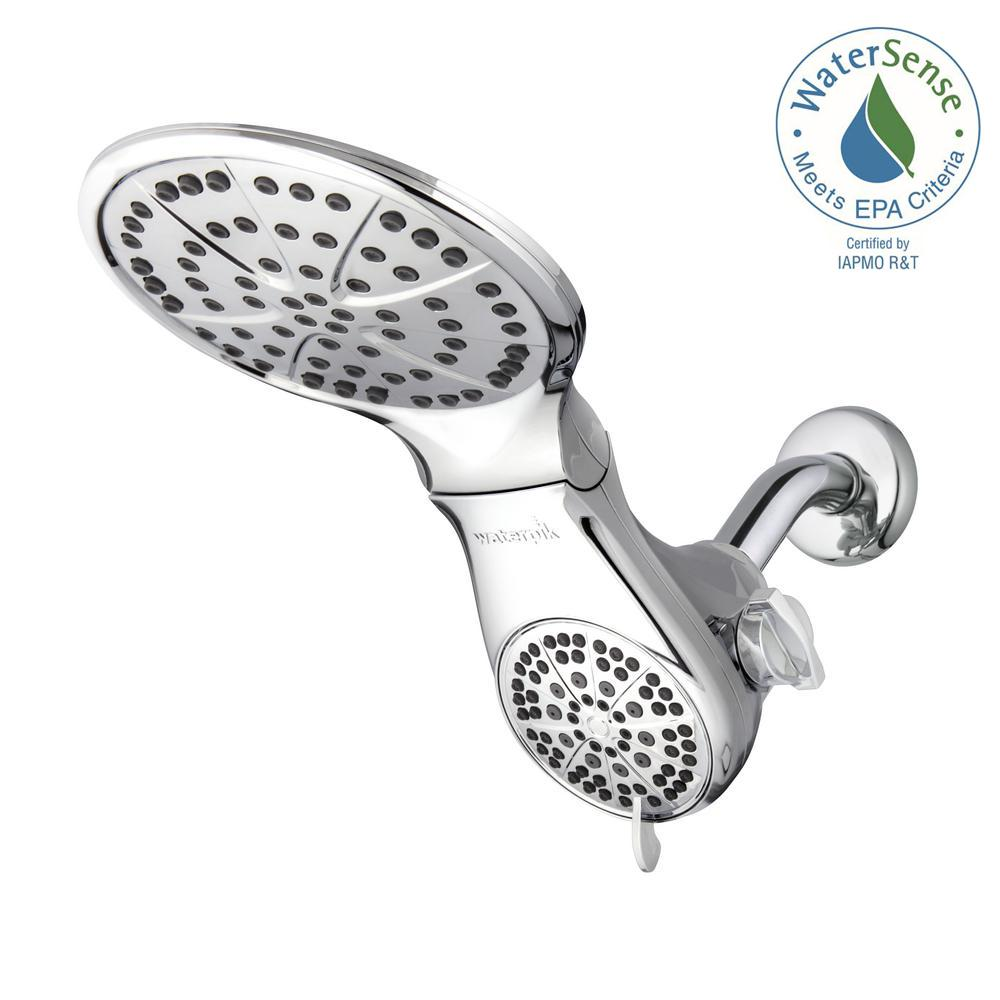 Waterpik DualSpray 7-Spray 7.5 in. 2-in-1 Adjustable Shower Head ...