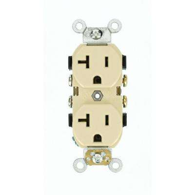 20 Amp Commercial Grade Self Grounding Duplex Outlet, Ivory