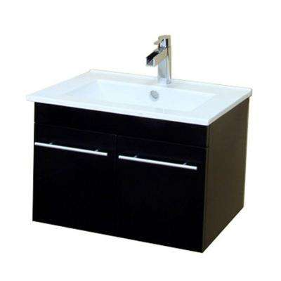 Jerez 25 in. W Single Vanity in Dark Espresso with Porcelain Vanity Top in White