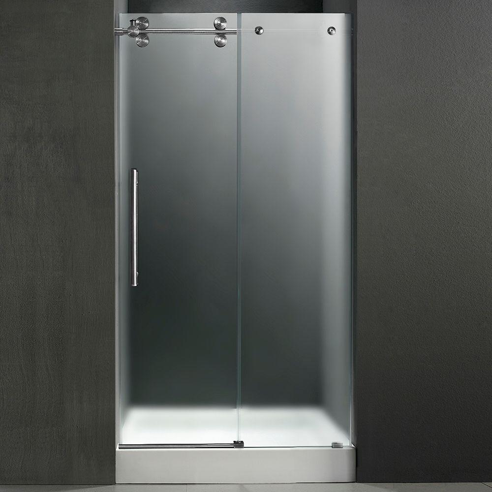 Vigo 59.75 in. x 74 in. Frameless Pivot Shower Door in Stainless Steel with Frosted Glass and White Base