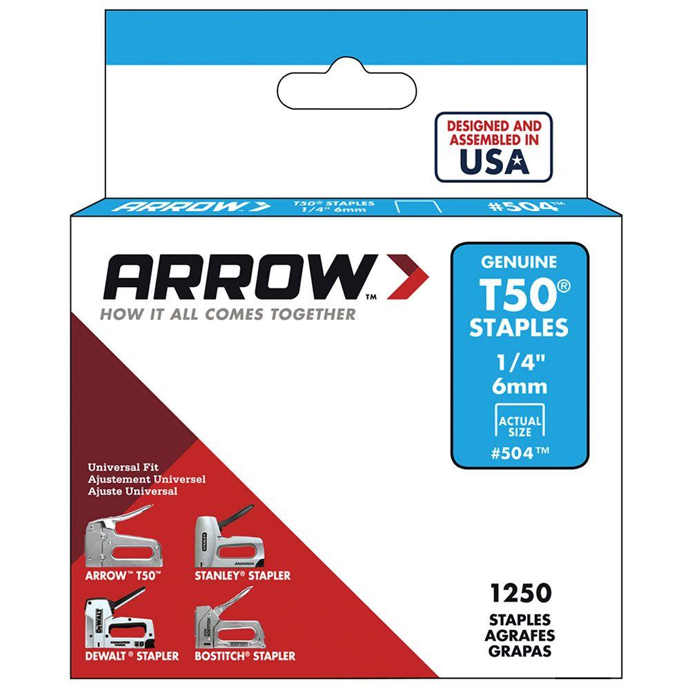 Arrow Fastener T50 1/4 in. Leg x 3/8 in. Crown Galvanized Steel Staples (1,250-Pack)