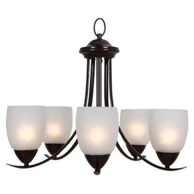 Ann 5-Light Oil-Rubbed Bronze Chandelier with White Glass Shade