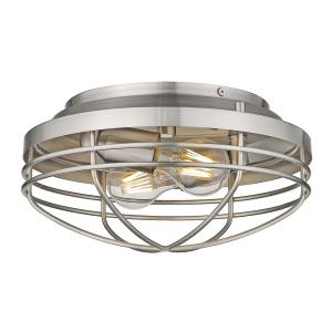 Seaport 12 in. 2-Light Pewter Flush Mount