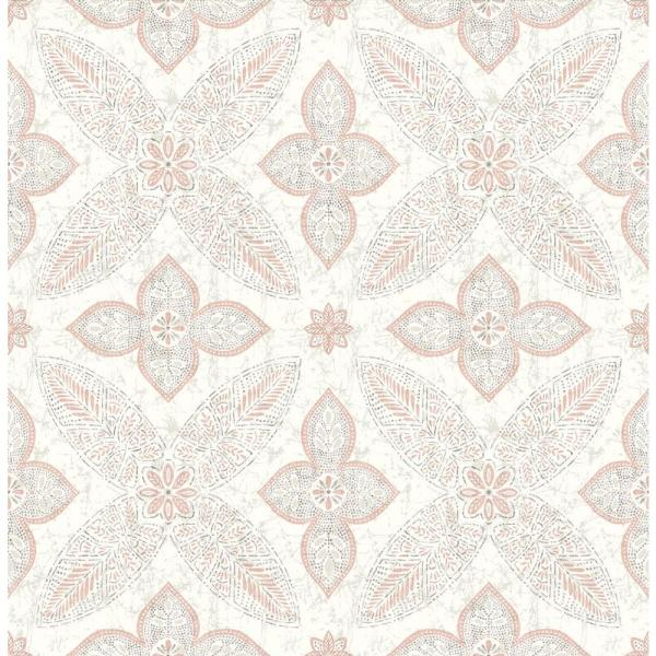 Off Beat Ethnic Grey Geometric Floral Paper Strippable Roll (Covers 56.4 sq. ft.)