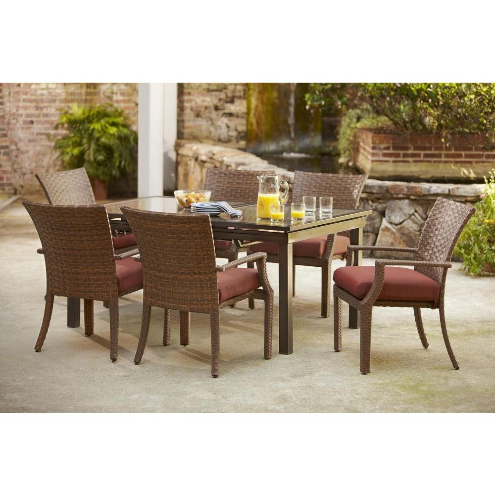 Hampton Bay Tobago 7 Piece Patio Dining Set With Burgundy Cushions 151 115 7d V2 The Home Depot