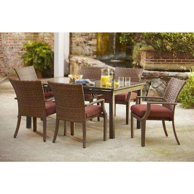 Tobago 7-Piece Patio Dining Set with Burgundy Cushions