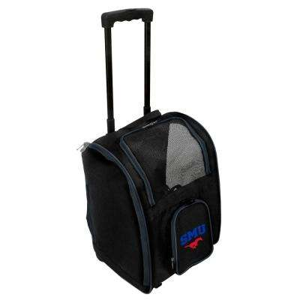 NCAA Southern Methodist Mustangs Pet Carrier Premium Bag with wheels in Navy