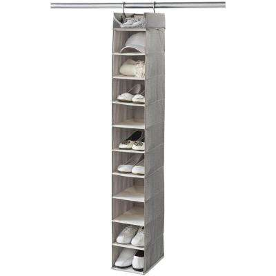 Harmony Twill 55 in. H x 7 in. W 10-Pair Hanging Closet and Shoe Organizer with Top Shelf