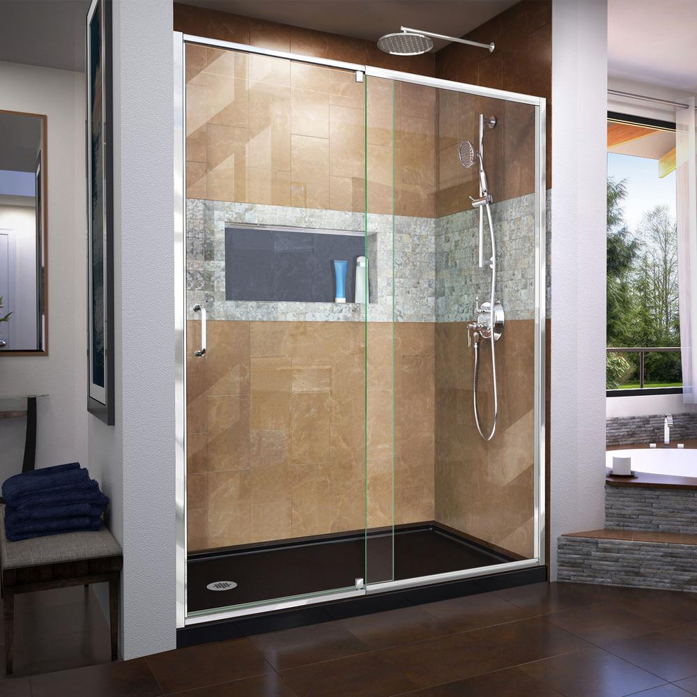 24 in. x 64 in. Framed Pivot Shower Door Kit in Silver with Pebbled ...