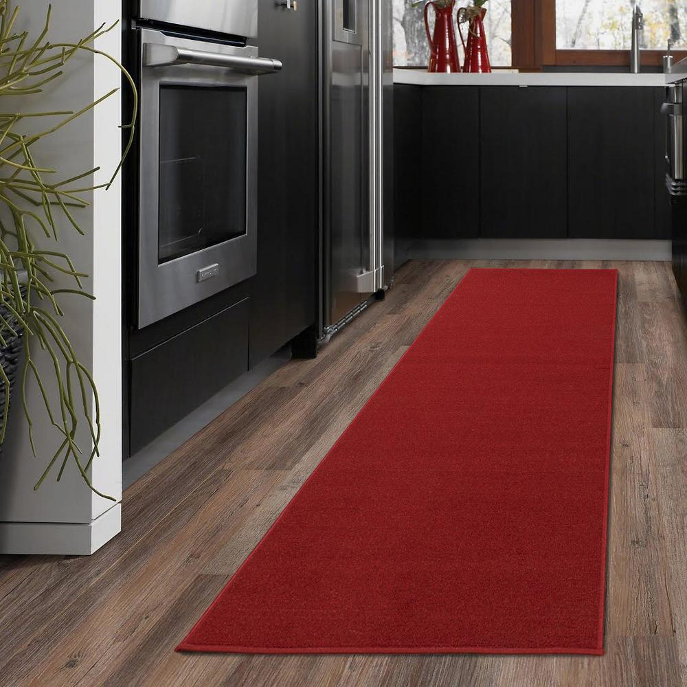 Area Runner Rug Stain Resistant Polypropylene 2 X 5 Ft Red Machine