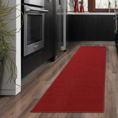 Ottohome Collection Carpet Aisle Design Red 2 ft. x 5 ft. Runner Rug
