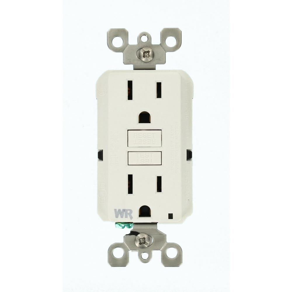 Leviton 15 Amp SmartlockPro Weather Resistant GFCI Outlet, White