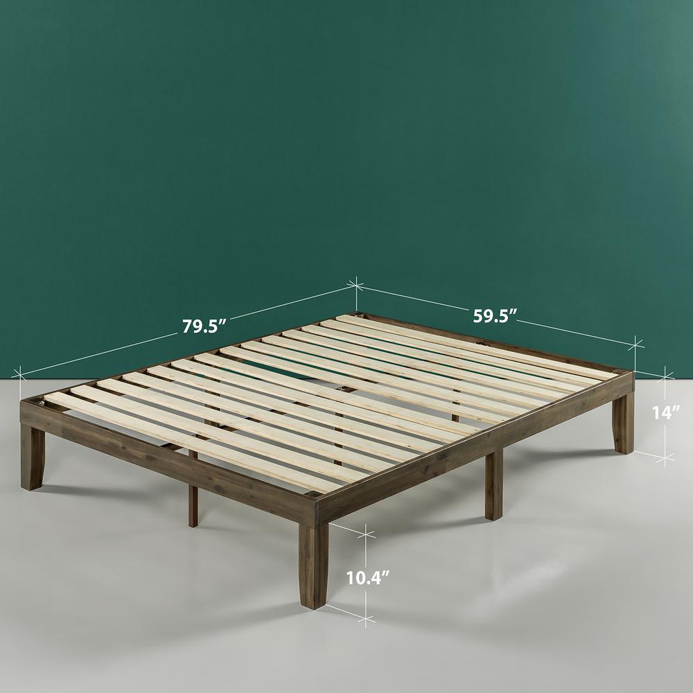 Moiz Walnut 14 in. Queen Platform Bed with Wood
