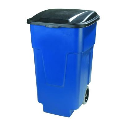 50 Gal. Blue Rolling Trash Can with Attached Lid (2-Pack)