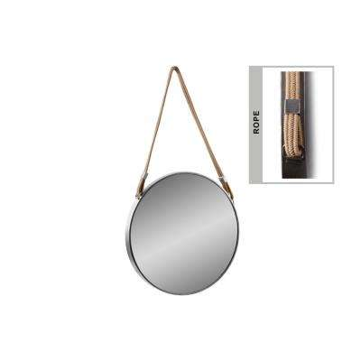 Round Silver Tarnished Mirror