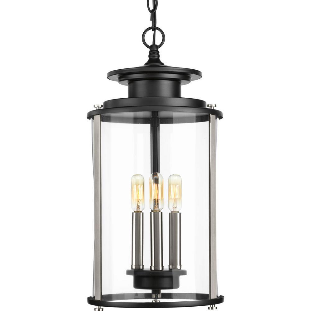 Progress Lighting Squire Collection Black 3-Light Outdoor Hanging Lantern