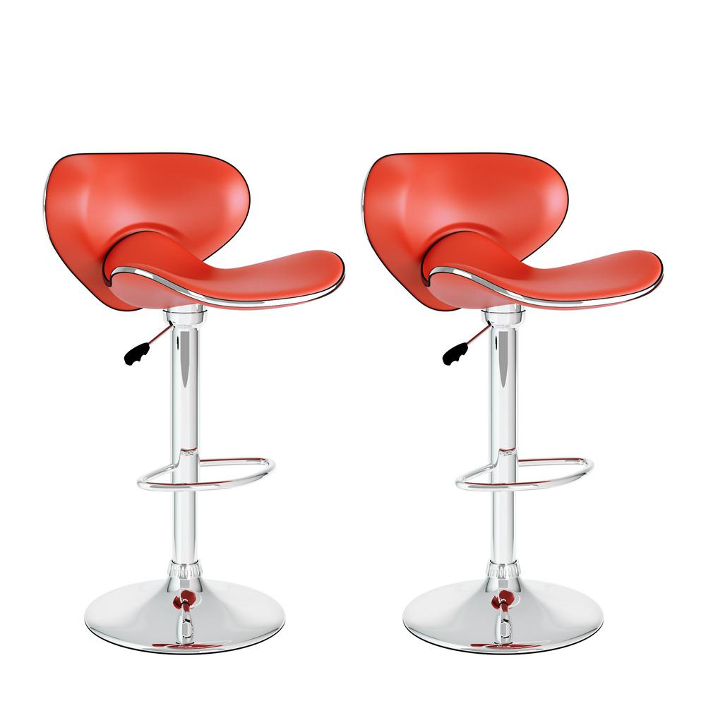 Adjustable Height Red Leatherette Curved Form Fitting Swivel Bar Stool (Set