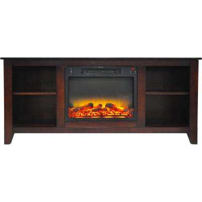 Bel Air 63 in. Electric Fireplace and Entertainment Stand in Mahogany with Enhanced Log Display