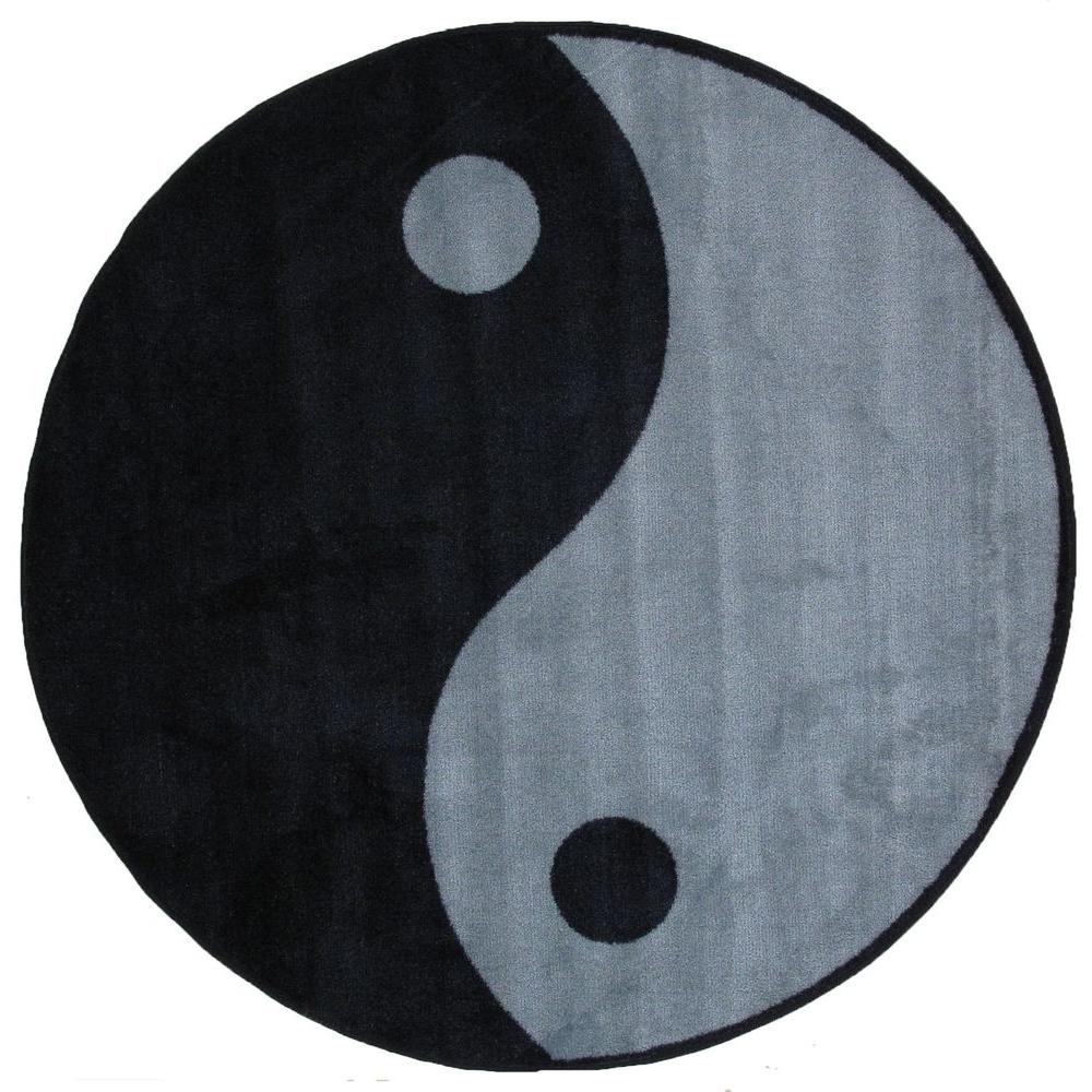 Nice LA Rug Fun Time Shape Ying Yang 51 In. Round Area Rug FTS 152 51RD   The  Home Depot