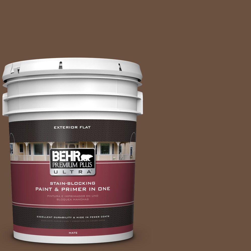 BEHR Premium Plus Ultra 5-gal. #S-H-700 Burley Wood Flat Exterior Paint