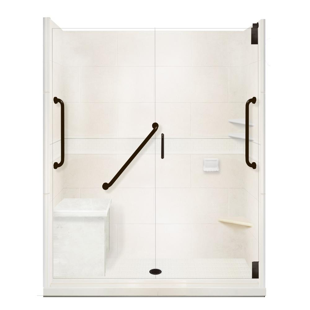 American Bath Factory Classic Freedom Grand Hinged 42 in. x 60 in. x 80 in. Center Drain Alcove Shower Kit in Natural Buff and Black Pipe
