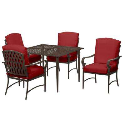Oak Cliff 5-Piece Brown Steel Outdoor Patio Dining Set with CushionGuard Chili Red Cushions