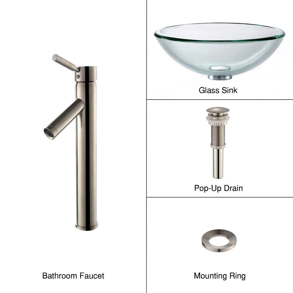 19 mm Thick Glass Vessel Sink with Single Hole Single-Handle High-Arc