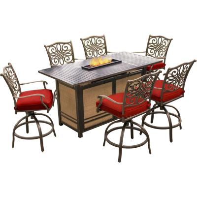 Traditions 7-Piece Aluminum Outdoor Bar Height Dining Set with Red Cushions with 30,000 BTU Fire Pit Table