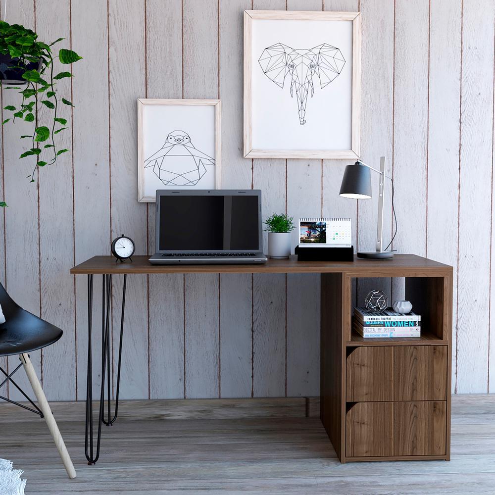 """Aster 54"""" Natural Finish 2 Drawer Desk"""