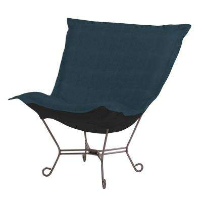 Puff Sterling Blue Scroll Chair