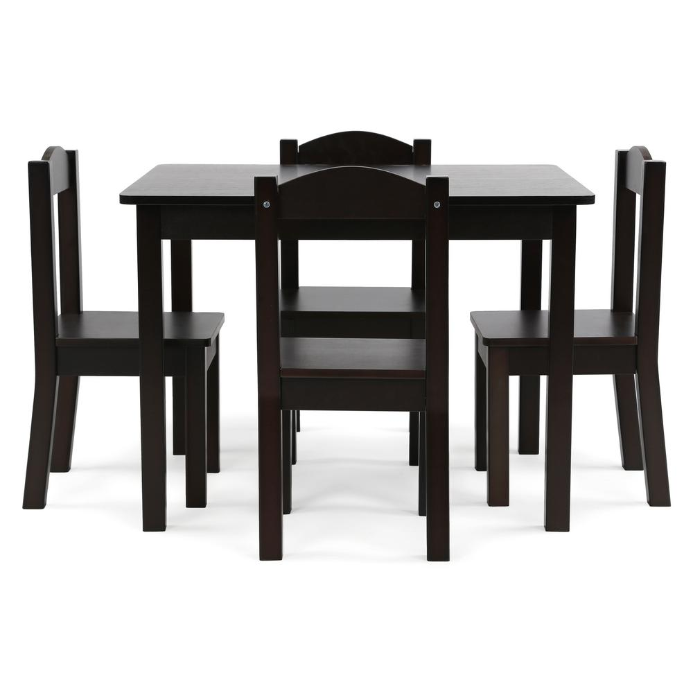 2d354b448a4 Tot Tutors Espresso Collection 5-Piece Espresso Table and Chair Set ...