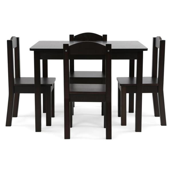 Tot Tutors Espresso Collection 5-Piece Espresso Table and Chair Set