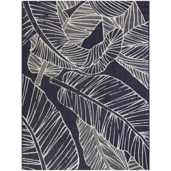 Palm Leaves Navy 5 ft. x 7 ft. Indoor/Outdoor Area Rug