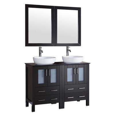 48 in. W Double Bath Vanity with Tempered Glass Vanity Top in Black with White Basin and Mirror